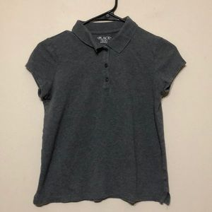 ‼️Children's place girls gray polo XL 14